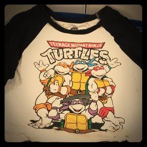 Cropped baseball shirt. Ninja Turtles